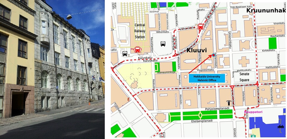 The Building and Map of Europe Office in Helsinki (Finland)