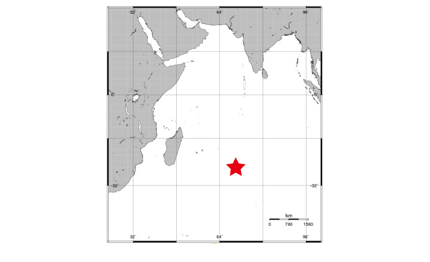 The Kairei Field, located in the Indian Ocean's Central Indian Ridge (★).