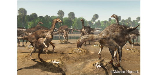 Artistic reconstruction of colonial nesting site of therizinosaur dinosaurs from Mongolia by Masato Hattori