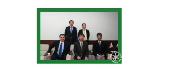 Uzbekistan visit: (L-R) back row: First Secretary Ismailov Aziz, Ministry of Foreign Affairs of Uzbekistan, Professor Tetsuhiko Takai; front row: Professor Khamdamov Mirzoumid (UWED), So Kawanobe, Masani Gomita