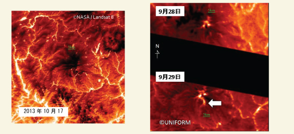 Images of Mt. Ontake taken by UNIFORM-1's onboard thermal infrared camera: (Left)Thermal infrared image (TIRS band10) taken by LANDSAT8 on October 17, 2013; (Right)Thermal infrared images taken by UNIFORM-1 on September 28/29, 2014; From these images, hot spots caused by the eruption were observed. Compared with the September 28 image, a hotspot to the south is seen in the September 29 image. The camera identified the hotspot not only as a heat source on the surface of the ground, but also as heat source of the plume in the sky, etc. Furthermore the rise in ground surface temperature was shown to be caused not by the eruption but by the reflection of heat, etc. As a result of this data, a new eruptive crater is not indicated.
