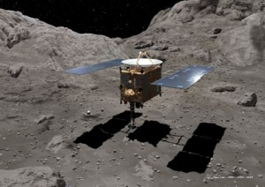 Artist's impression of Hayabusa landing on asteroid, Itokawa (credit: Akihiro Ikeshita).