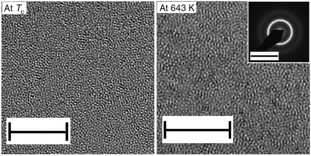 Fig2 Transmission Electron Microscope (TEM) images of Pd-Ni-P metallic glass
