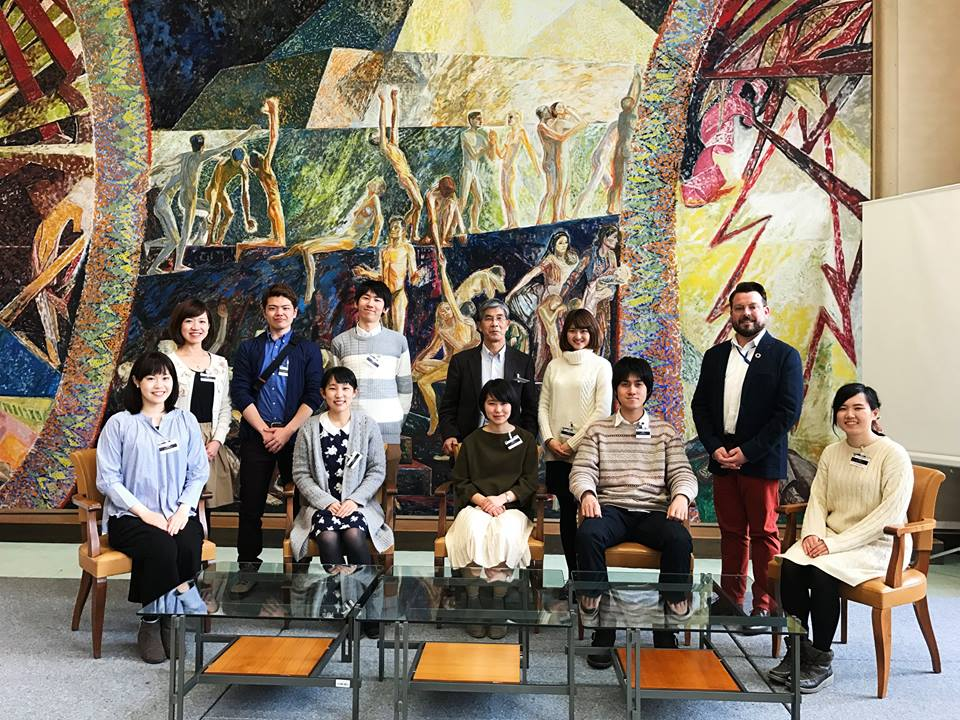 Hokkaido University students and Professor Hiko Tamashiro at the United Nations Library and Archives at Geneva.  Photo taken by the United Nations Library at Geneva.