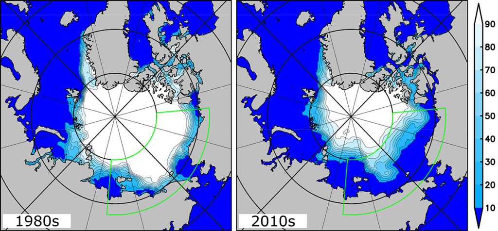 Difference in sea ice concentrations