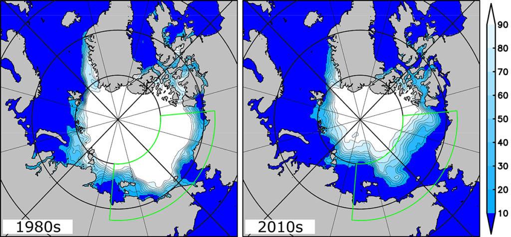 Concentrações de gelo do mar em setembro. Os mapas esquerdo e direito mostram a média de concentração de gelo no Oceano Ártico nos anos 80 e 2010, respectivamente. O contorno em forma de fã marca a área de estudo. Os mapas são baseados em informações fornecidas pelo National Snow and Ice Data Center.