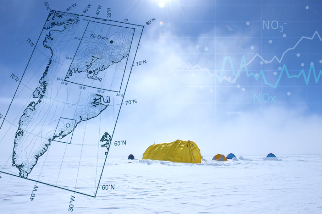 The camp at Southeastern Greenland Dome for drilling the ice core and its location shown on the map (Collage provided by Shohei Hattori, Tokyo Institute of Technology)
