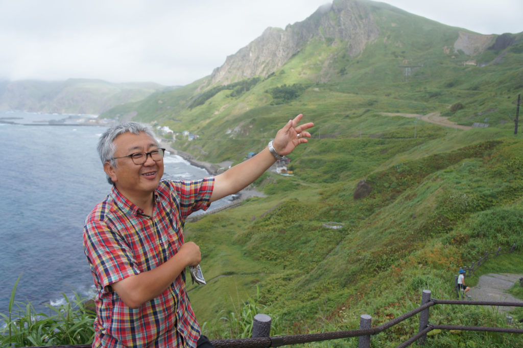 Professor Hirofumi Kato at Rebun Island during the summer school.