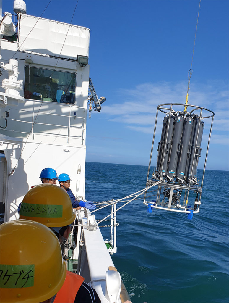 The CTD unit with tanks to collect seawater at different depths.