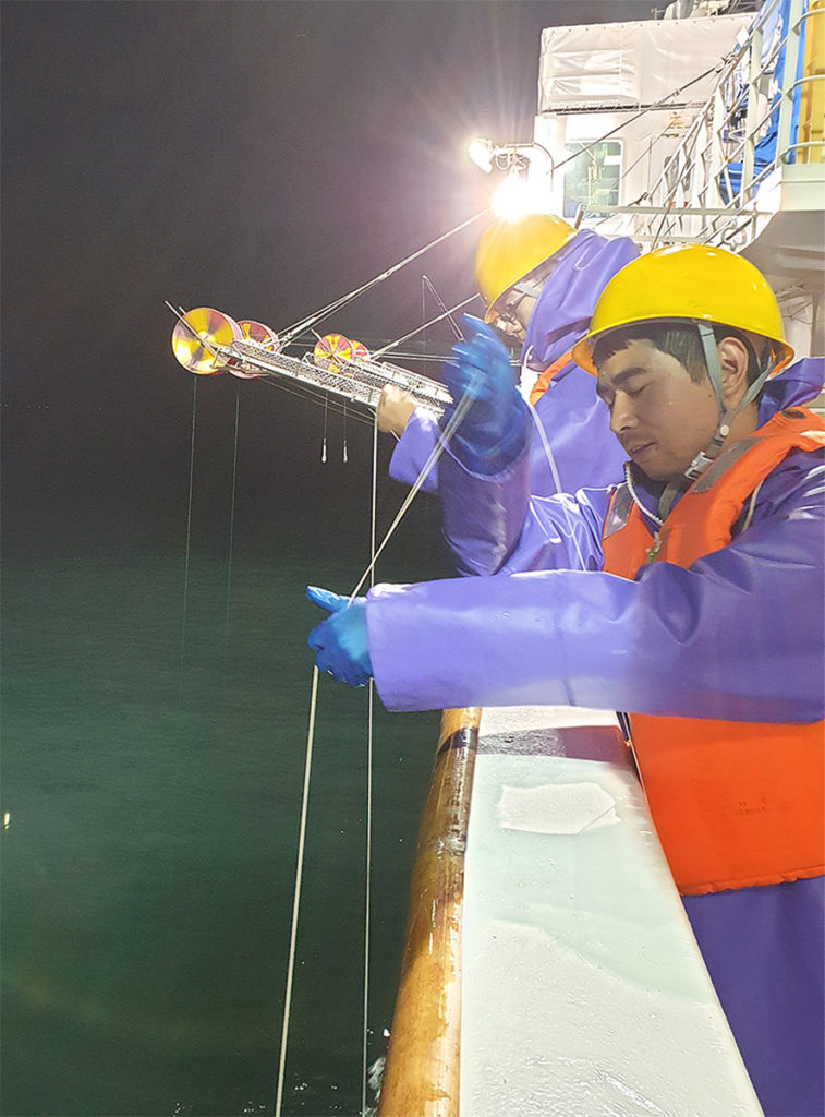 Squid jigging at night